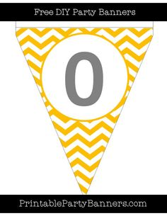 Amber and White Pennant Chevron Number 0