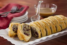 Pepperidge Farm® Puff Pastry is woven around a comforting mixture of Pepperidge Farm® Herb Seasoned Stuffing, sausage, green onions, mushrooms and dried cranberries, and baked until golden to make a festive and delicious dish. Thanksgiving Recipes, Holiday Recipes, Thanksgiving Leftovers, Holiday Foods, Pepperidge Farm Puff Pastry, Sage Sausage, Sausage Stuffing, Christmas Party Food, Christmas Treats