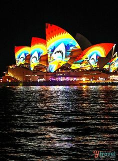 "Sydney Opera House, Sydney, Australia — by Caz and Craig @yTravelBlog. The""VividSydney""FestivalcomesaliveafterdarkeveryMay–June.Theadditionofhugelightprojectionsandlaserstransformsthecityi..."