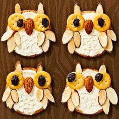 Owl Crackers How cute for any Fall party or after school snack! Crackers, cream cheese, raisins, and almonds; all stacked together to create a little owl.