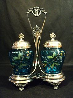 Victorian: Rare Enameled Double Pickle Castor with Silverplate Stand. Victorian Interiors, Victorian Furniture, Victorian Decor, Victorian Era, Antique Dishes, Antique Glassware, Motifs Art Nouveau, Condiment Sets, Pots