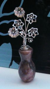 Miniature Sterling Silver Flowers in Mauve Marble Vase