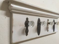 Architectural Salvage Coat Rack, Rustic Coat Rack, Antique Glass Door Knob Coat Rack, Up-Cycled Coat Rack, Re-purposed Coat Rack Door Knobs Crafts, Diy Door Knobs, Antique Door Knobs, Glass Door Knobs, Glass Front Door, Diy Coat Rack, Rustic Coat Rack, Coat Racks, Decoration Entree