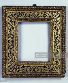 Stock-Foto : Renaissance frame, carved and gilded wood, France, 16th century