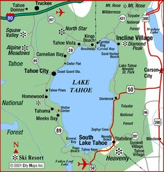 Lake Tahoe is one of the most beautiful places I have had the privilege to go to on a regular basis. It is located on the border of California and Nevada, west of Carson City (the Nevada state capi… Lake Tahoe Nevada, Lake Tahoe Map, Lake Tahoe Hiking, Lago Tahoe, Tahoe Vista, Lake Tahoe Summer, Lake Tahoe Vacation, South Lake Tahoe Camping, South Tahoe