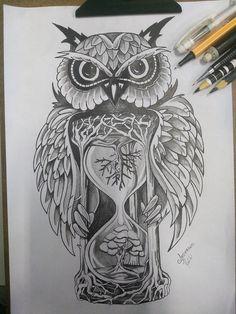 Owl Tattoo Design, Tattoo Design Drawings, Tattoo Sleeve Designs, Tattoo Sketches, Sleeve Tattoos, Owl Neck Tattoo, Owl Tattoo Chest, Mens Owl Tattoo, Old Tattoos
