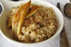 Coconut rice pudding with caramelized banana