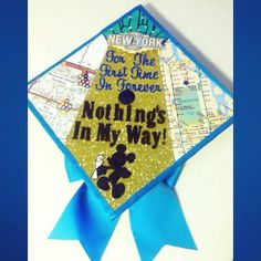 My 2014 graduation cap!   Combining some of my favorite things: Frozen, Mickey, Disney, Davis, New York City, and the Wizard of Oz (yellow brick road  emerald city)... I think it turned out pretty great!