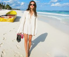 Tunic + necklaces + sandals. awesome combination for summer!