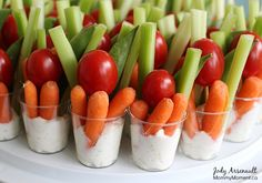 Veggie Dip Shooters are the perfect way to bring veggies and dip to potlucks and parties. It& easy to make these quick grab-and-go veggie snacks. Vegetable Cups, Veggie Cups, Go Veggie, Veggie Snacks, Veggie Tray, Healthy Snacks, Individual Appetizers, Individual Fruit Cups, Mini Appetizers