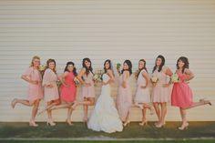 Bridesmaids. Coral and blush dresses