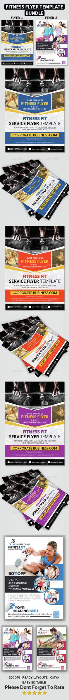 Fitness Flyers Bundle by afjamaal Fitness Flyers Bundle .This flyer is made in photoshop the files included are help file and photoshop psds. All psds are very well