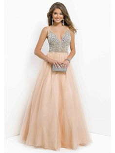 Escote En V Sin Mangas Abalorio Sequin Corte Evasé Tulle Floor-length Prom Dress
