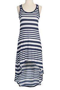 Striped Racerback Sleeveless Tank Maxi Asymmetric Hi Low Hem Summer Sun Dress | eBay