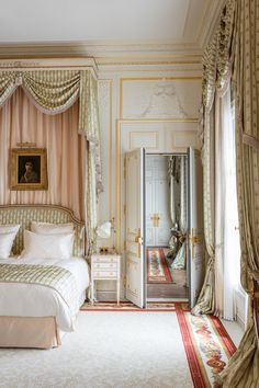 A view from one of the bedrooms into the living room of the Vendôme Suite in the 2016 renovation of the Ritz Hotel in Paris.