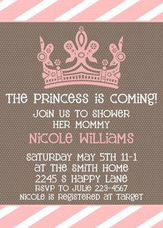 Baby Girl Shower invitation  Princess is Coming by sweetpeababy, $16.00