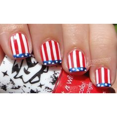 Patriotic 4th of July Funky French Nail Art found on Polyvore