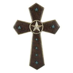 Pine Ridge Rustic Christian Family Wall Hanging Stunningly Detailed with Embossed Silver Leather Background and Burnished Turquoise Accent Cross Home Decoration - Catholic Wall Art Cross Gift Ideas Crosses Decor, Wood Crosses, Christian Families, Holy Cross, Family Wall, Bronze, Turquoise, Rustic, Wall Art