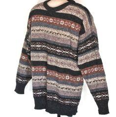 Men's Size M Moffat Woollens Fair Isle Knit Wool Sweater Made In Scotland #MoffatWoollens #Crewneck