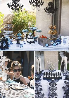 "Sparkly ""Breakfast at Tiffany's"" Themed Birthday Party: Gorgeous mini Audrey with delectable food spread."