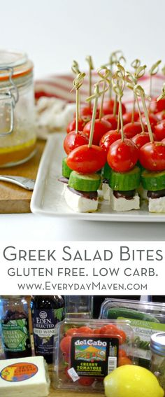 Greek Salad Bites are made with simple ingredients and have big flavor. A fun appetizer that is naturally low carb, gluten free and vegetarian!are made with simple ingredients and have big flavor. A fun appetizer that is naturally low carb, gluten free and vegetarian! via @EverydayMaven
