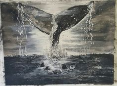 Watercolor, ink painting- Moby Dick by: Tim Narmore