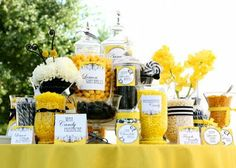 Love the black and yellow candy station!