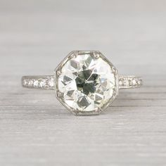 2.30 Carat Vintage Art Deco Engagement Ring by ErstwhileJewelry. Interesting shape