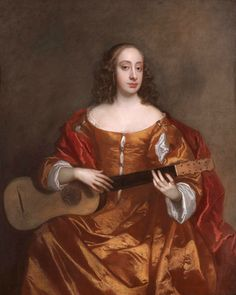 A Young Woman Playing a Guitar Sir Peter Lely - Date unknown