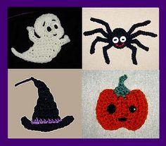 Ravelry: Halloween Appliques - Crochet Patterns: Spider, Casper, Pumpkin and Witch Hat pattern by Cathy Ren