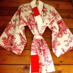 Toile and comfort!......kimono style robe elegant long red and white by wildstar80 on Etsy, $75.00