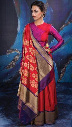 Banarasi beauty with royal combo of red & purple