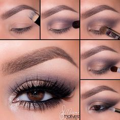 """Ely Marino new look using Mavens palette motivescosmetics. 1.Begin by applying """"Birch"""" onto the brow bone 2.Apply """"Aubergine"""" in the outer """"V"""" and sweep in the crease 3.Using """"Serene"""" Pat onto the lid 4.Taking """"Raven"""" apply to outer part of the lash line and sweep slightly inward and extending it outward, till there are no harsh lines 5.Apply """"Shell"""" to the tearduct area, followed by """"Allure"""" paint pot, """"Aubergine"""" and """"Raven"""" making sure there is a smooth transition between colors!"""