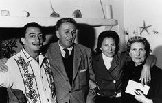 Salvador Dali and Walt Disney with their wives. Dali met Disney in Cadaques, a small Spanish village near Barcelona, where Dali lived.