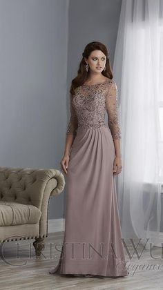 Formal Dresses With Sleeves, Mob Dresses, Types Of Dresses, Bridesmaid Dresses, Dress Formal, Mother Of The Bride Dresses Long, Mother Of Bride Outfits, Mothers Dresses, Christina Wu