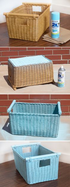 Step-by-step images for spray painting our Pole Handle Storage Basket from www.basketlady.com