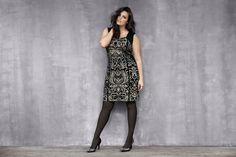 Lane Collection Intarsia Scroll Dress. Luxe sparkle meets va-va-voom curves. Stunning! #LaneBryant