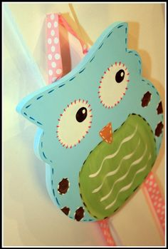 LARGE ORIGINAL wooden cut-out Owl Bow Holder