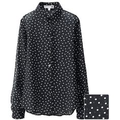 UNIQLO Ines 100% Silk Georgette Dot Print Blouse (4.755 RUB) ❤ liked on Polyvore featuring tops, blouses, black, uniqlo, polka dot top, silk top, fitted tops and polka dot silk blouse