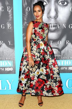 KERRY WASHINGTON in a Dolce & Gabbana floral dress, vintage Movado watch and black strappy Christian Louboutin sandals at the premiere of HBO's Confirmation in L.A.