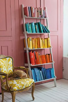 Pretty Pink wall and white bookshelf