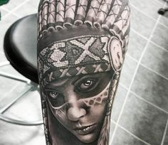 Indian girl tattoo by Jacob Sheffield