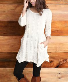 Look at this #zulilyfind! Reborn Collection Winter White Cable-Knit Handkerchief Tunic - Women by Reborn Collection #zulilyfinds