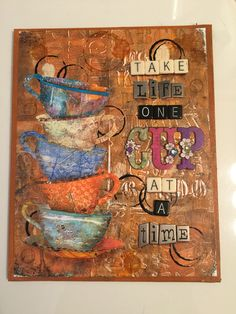 Tim Holtz Tea Time die and Gelli plate background papers.