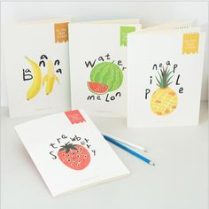 """Fruit Lover"" Pack of 4 Lined Notebook Journal Cute Notepad Diary Study Planner"