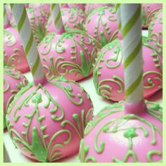 .@Kerri Cupcake Instagram photos | Webstagram -Lily Pulitzer inspired cakepops. Pink. green. chocolate. edible art. baby shower. bridal shower. luncheon.
