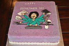Secretary's Day cake with colour flow and shell border
