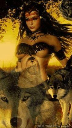 Dark Fantasy Art, Fantasy Wolf, Fantasy Art Women, Beautiful Fantasy Art, Fantasy Warrior, Fantasy Girl, Native American Wolf, Native American Pictures, Native American Artwork