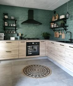 This kitchen has been instantly elevated by those perfect green tiles Love this soft with a masculine edge kitchen fr. Contemporary Kitchen Design, Home Decor Kitchen, Rustic Kitchen, Kitchen Decor, Home Deco, Home, Home Kitchens, Kitchen Interior, Kitchen Inspirations