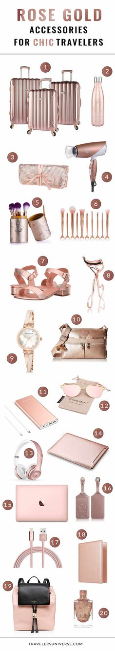 Upgrade to a stylish travel look with these must have rose gold travel accessories. Perfect for chic women who love to travel often.